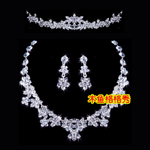 Bride red white necklace alloy crystal crown earrings wedding dress bridal jewelry accessories female three piece