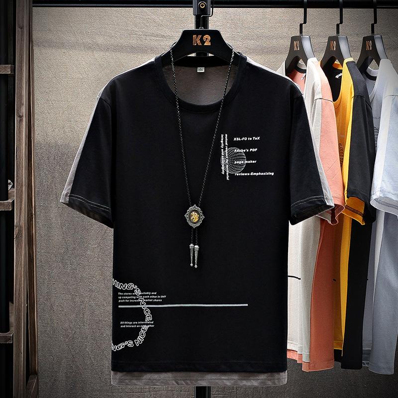 短袖t恤夏季宽松潮流潮牌半袖五分袖加大码体恤国潮男士T2026-P25