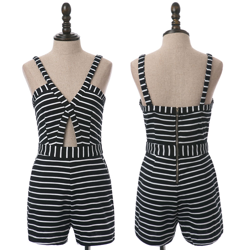 Krazy slim slim cut out sexy V-neck low cut holiday style black and white stripe suspender Jumpsuit 6676