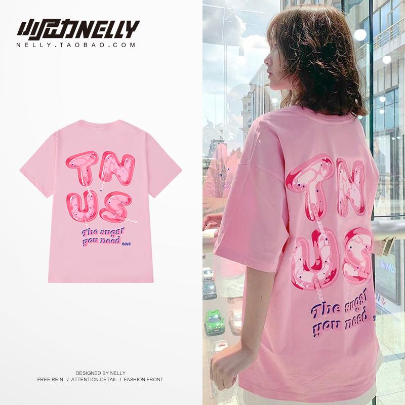 粉色oversize 涂鸦印花短袖TEE~韩国复古学院宽松卡通T恤半袖中袖