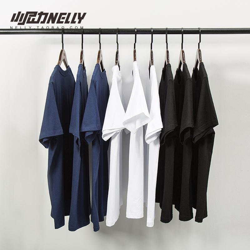 小尼力复古百搭纯棉纯色宽松短袖打底衫T恤男女体恤潮短袖衣服丅