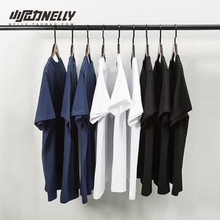 打底衫 T恤白色男女体恤潮短袖 复古百搭纯棉纯色宽松短袖 衣服丅