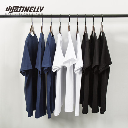 复古百搭纯棉纯色宽松短袖打底衫T恤白色男女体恤潮半袖衣服丅
