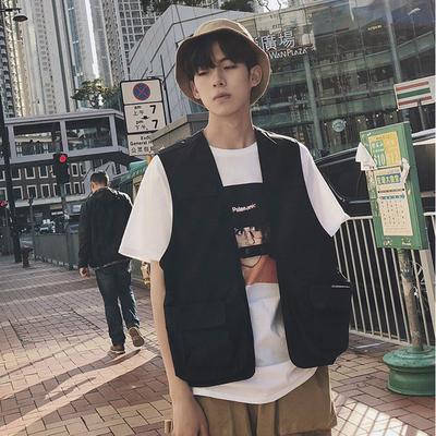 夏季新款潮流男士黑色短袖马甲半袖衬衣808A-MJ1702-P50 限价65