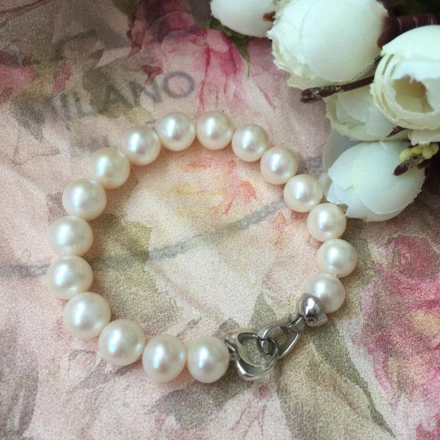 Whirlpool jewelry natural freshwater pearl Bracelet 925 sterling silver button pearl bracelet Jewelry circle slight flaw