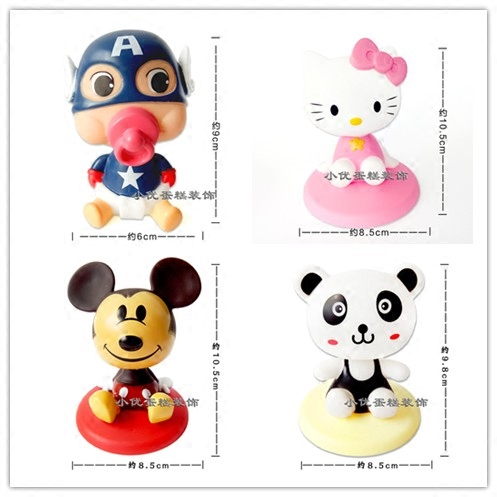 Shaking head birthday cake decoration large shaking head robot cat Minnie Mickey decoration cartoon doll dessert table accessories