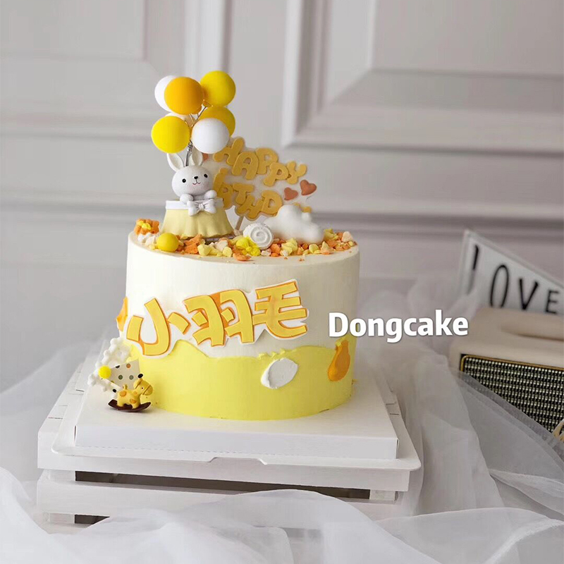 Net red cake decoration cartoon hot air balloon rabbit ornament doll baby full moon one year old dessert table cake accessories