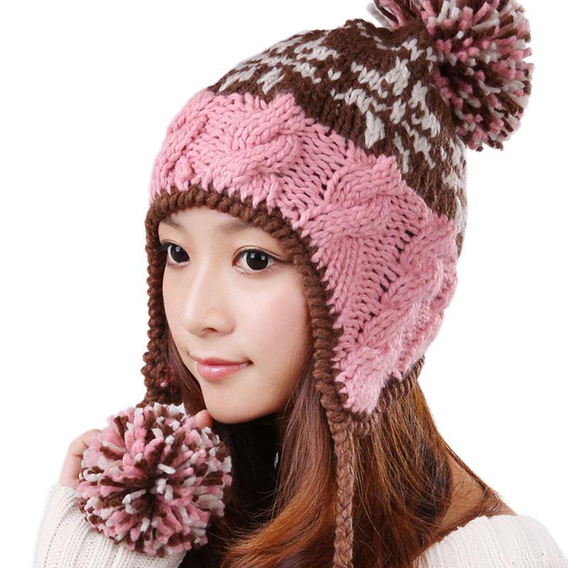 Kingspeed Корейский бум шерсти шляпу женщин теплая осень и зимний лыжный затычки для ушей шляпу розовый вязаный Hat 0337