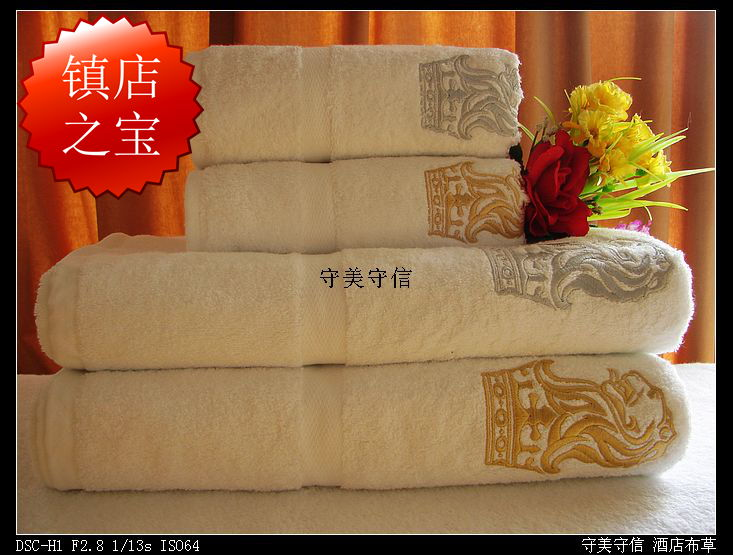 Аутентичные пятизвездочный отель Ritz-Carlton скидки пару вышитые полотенца махровые полотенце комплект Белый хлопок