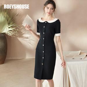 罗衣赫本风连衣裙夏装新款复古娃娃领拼接收腰黑色中长裙子02006
