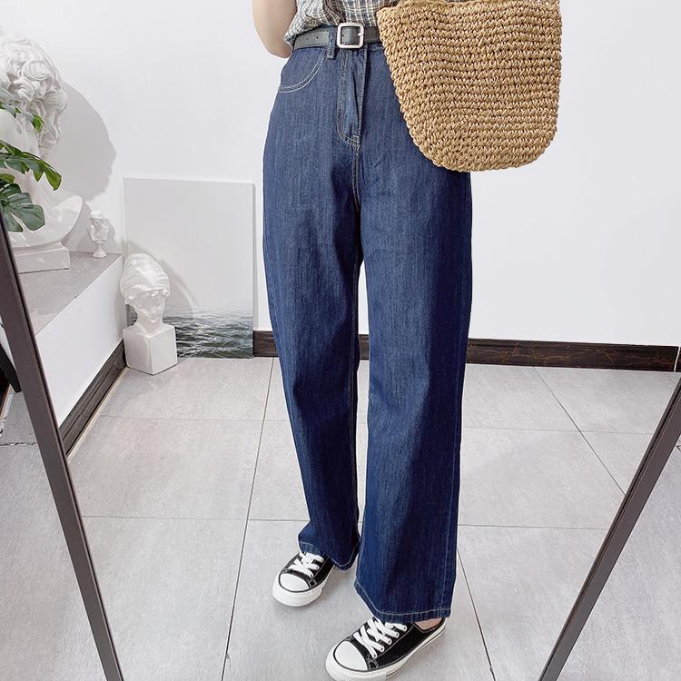 夏季阔腿牛仔裤女薄款宽松显瘦韩国纯棉高腰直筒裤老爹拖地裤子潮