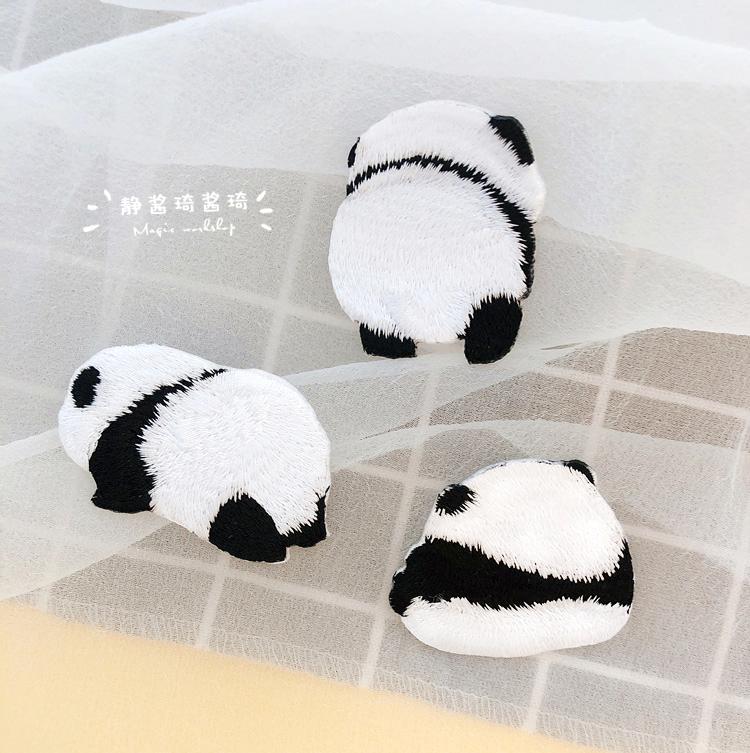 可爱熊猫刺绣布贴补丁贴装饰贴衣服贴熨烫帖diy手工手账贴补破洞
