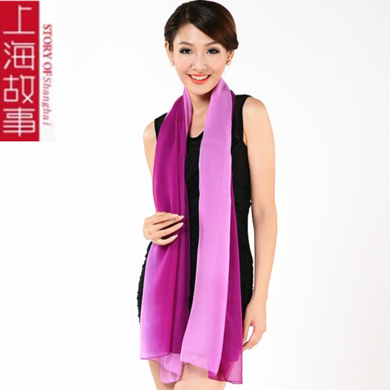 上海のストーリの糸のグラデーションのスカーフの長目の春秋の絹糸のマフラーの女性の巨大なストールの団体の活動の絹織物の金