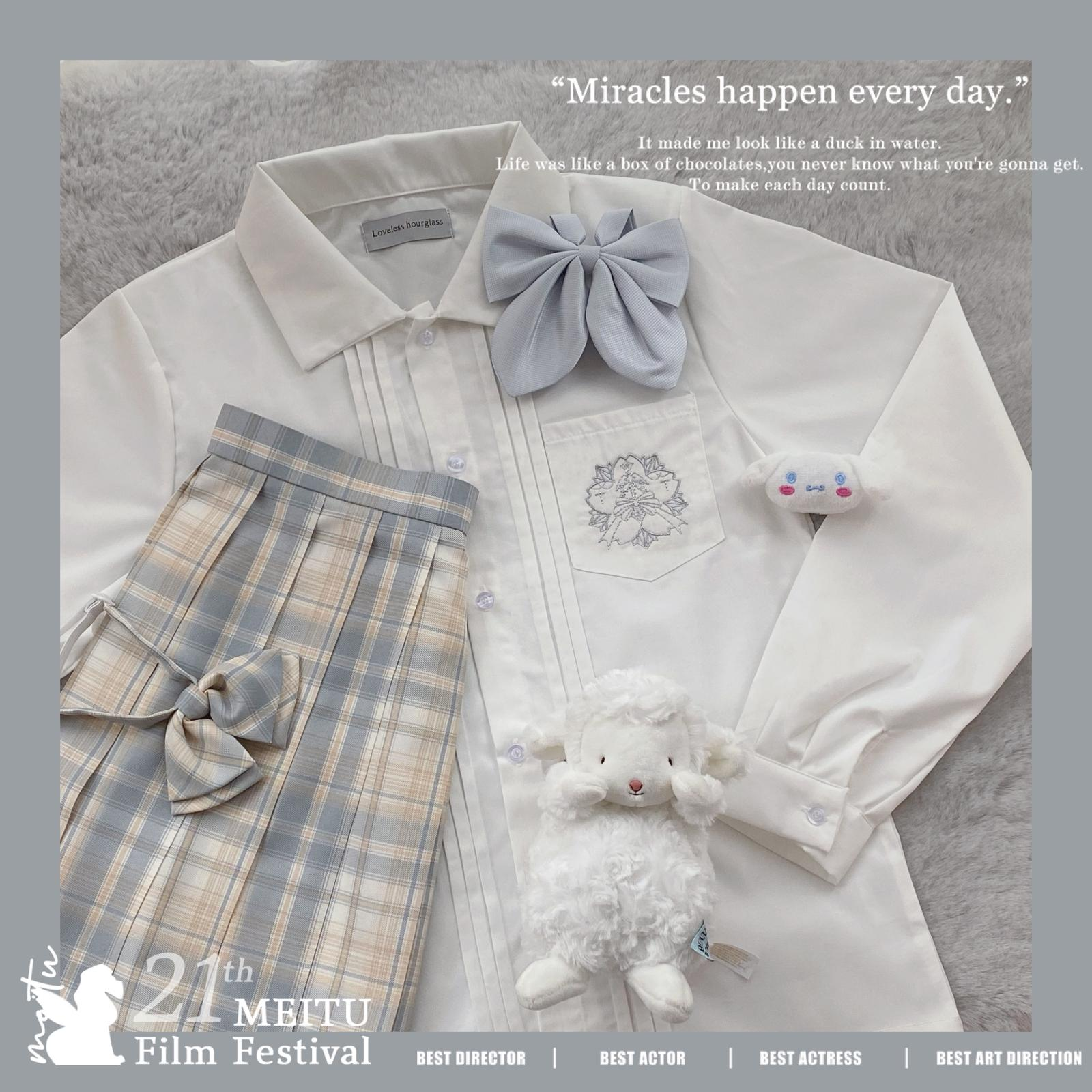 现货樱之剑 福利回馈 原创基础款银线刺绣风琴褶长袖jk衬衫