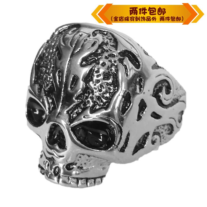 时尚钛钢戒指 摇滚歌特乐队朋克复古骷髅头鬼头钛钢男款戒指指环