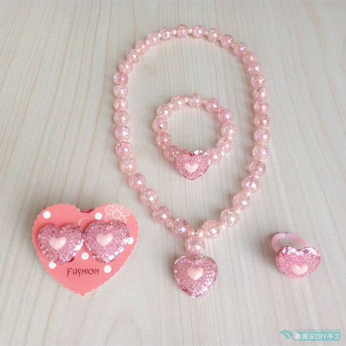 Childrens Jewelry Pink Love Necklace girls peach heart bracelet Princess heart ear clip ring set girl accessories