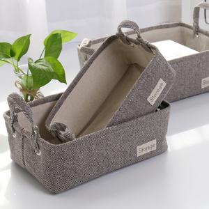 复古布艺毛呢加厚收纳盒桌面杂物折叠收纳筐衣柜闲置内衣袜整理筐