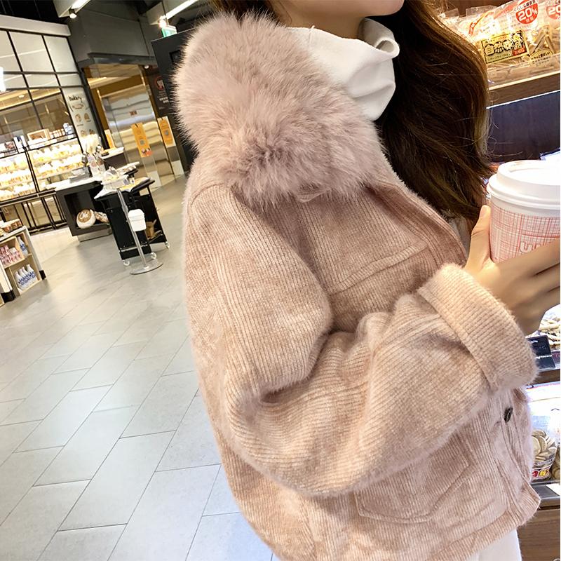 2018新款韩版仿貂绒短款百搭加绒加厚外套女套冬大毛领水貂绒宽松