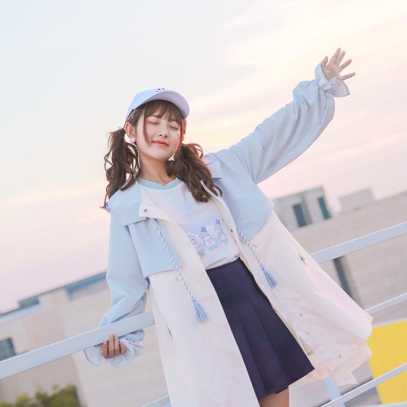 原创森女部落春秋外套小清新中长款韩版风衣学生2018新款女装森系