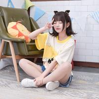 Áo T-shirt thiếu nữ, in hình hoạt hình đáng yêu, chui đầu, họa tiết in hoạt hình, kiểu dáng rộng rãi, thời trang phong cách Nhật Bản
