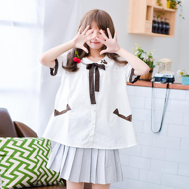 Áo sơ mi thắt nơ đang yêu phong cách Nhật