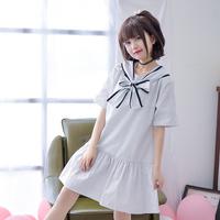 Váy liền/Váy chữ A thiếu nữ, họa tiết hình nơ, họa tiết kẻ sọc, kiểu dáng dễ thương, thời trang phong cách Nhật Bản