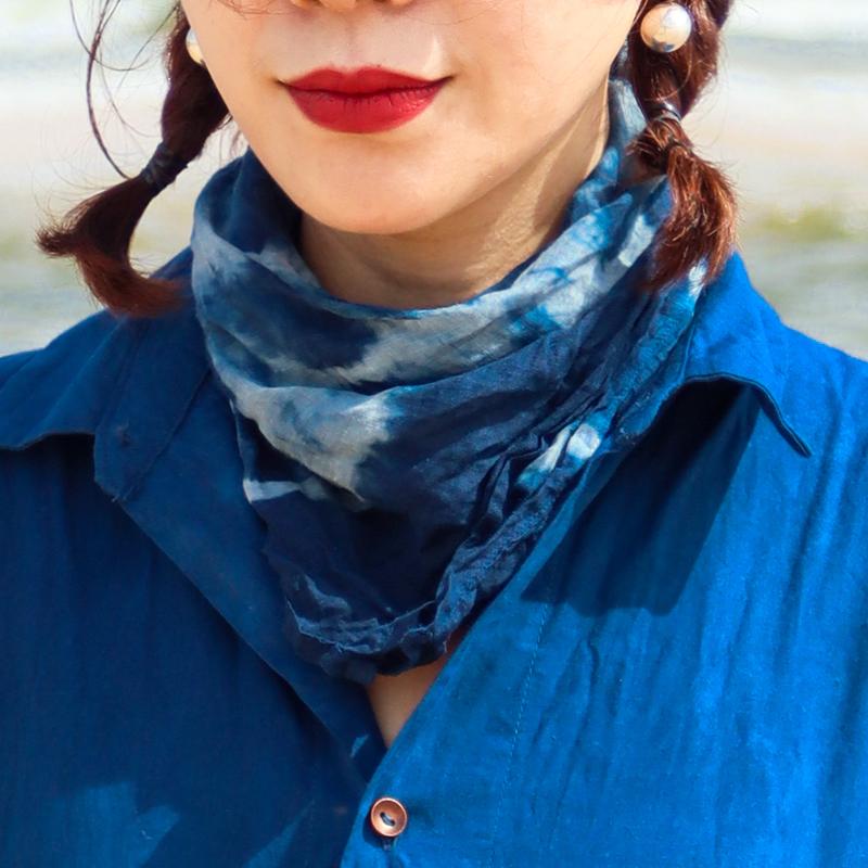 掌染草古法植物蓝染草木染原创手工传统扎染四季佩戴围巾方巾包邮