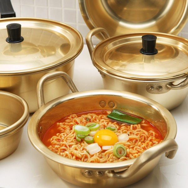 韩国拉面锅网红金色煮面泡面锅泡面小食堂韩剧同款进口加厚黄铝锅
