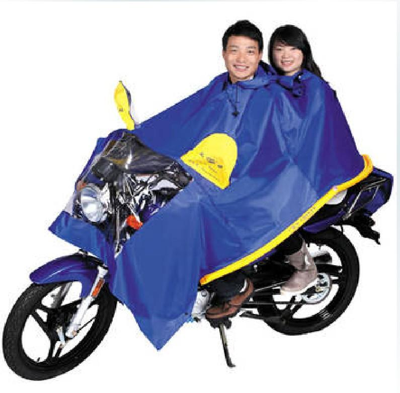 正招气囊式防飘加大加长摩托车电动车双人雨披加厚防水充气雨衣