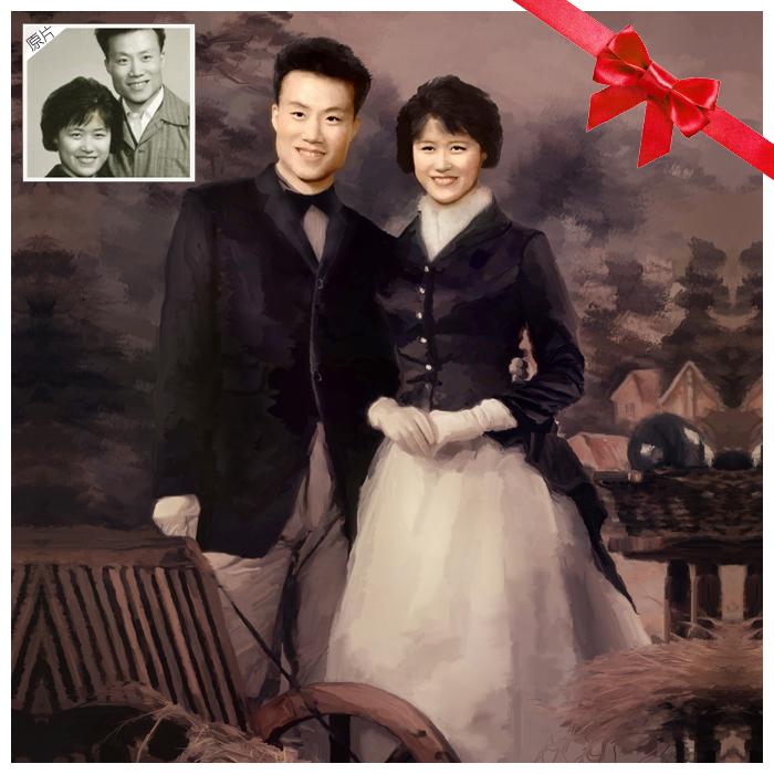 創意老照片翻新純手繪肖像油畫送父母金婚紀念創意禮物定制