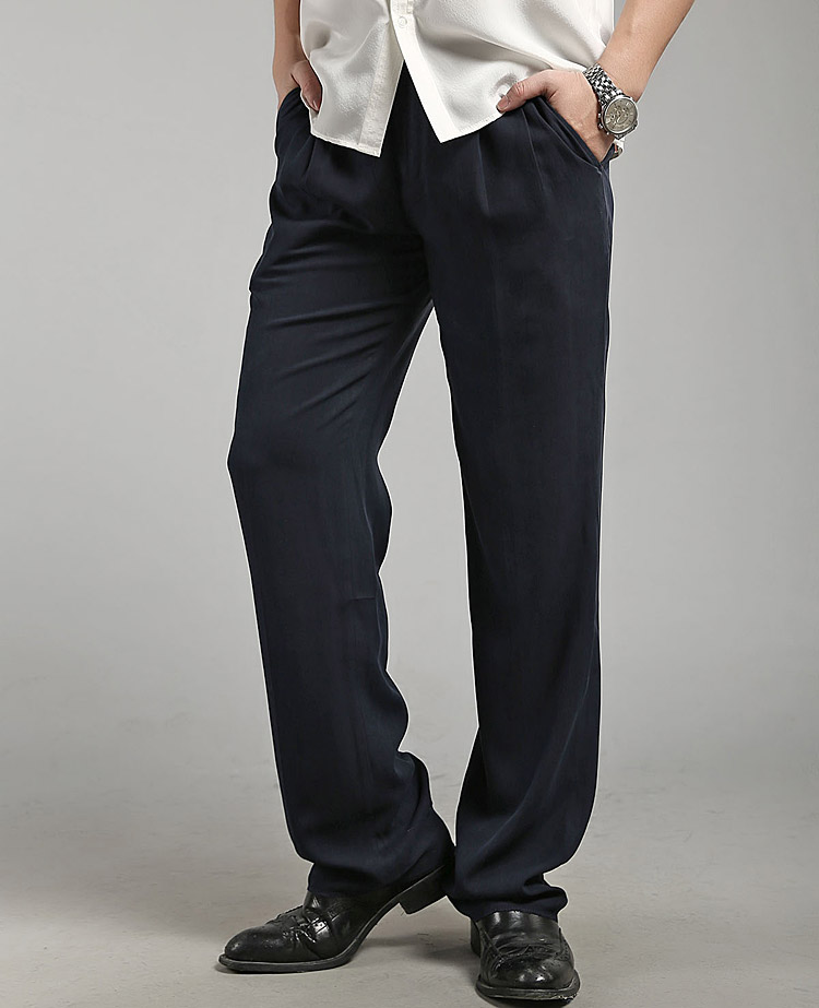 Hangzhou silk summer heavyweight pure silk casual pants mens pants middle-aged and old loose large mulberry silk pants