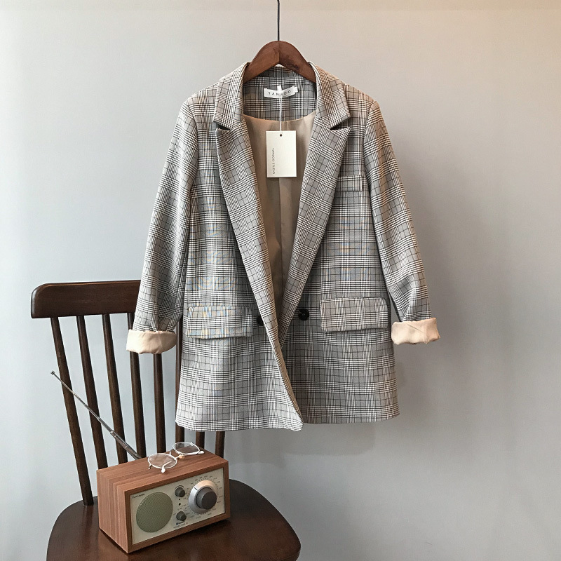 Yao Xiaomao: push! 2019 Korean retro Plaid suit coat womens loose casual suit top