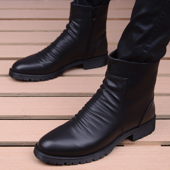British Fashion High Zipper Tip Martin Boots Fashion Men's Shoes Elevated Shoes Leisure Shoes Men's Boots