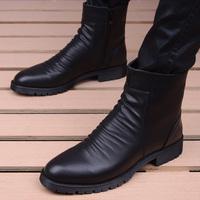 查看英伦时尚高帮拉链尖头马丁靴子潮流男鞋增高短靴休闲皮鞋男士皮靴价格