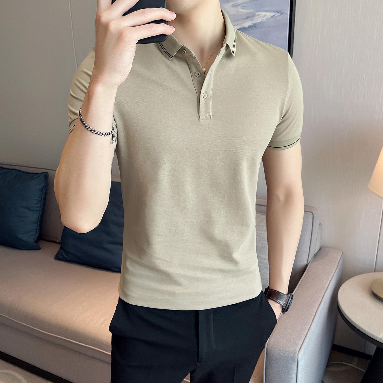 夏季型男修身纯色短袖POLO衫 休闲翻领潮流 Y16-P45