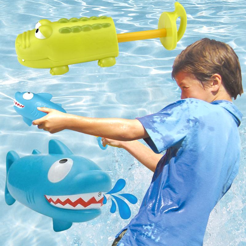 满16.90元可用1元优惠券鳄鱼鲨鱼卡通水枪儿童水上乐园游泳池打水战装备宝宝洗澡喷水玩具