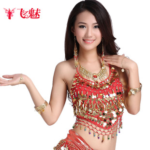 Fly charm belly dance sequined chiffon blouse peppers hanging credits bras hanging bells with a chest pad apron FM5013