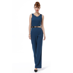 Original Women s European and American big summer new paragraph sleeveless jumpsuit Slim piece pants wide leg pants pants body