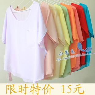 美国AA夏装韩版女装罩衫宽松T恤上衣透视衫蝙蝠袖大码雪纺衫 短袖