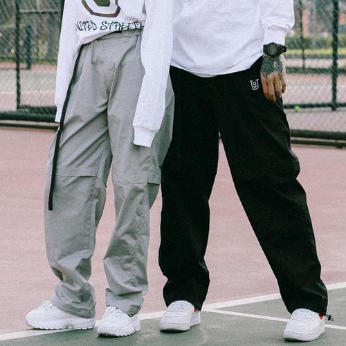 美式宽松直筒弹力工装裤男街头国潮机能滑板嘻哈街舞bboy休闲长裤