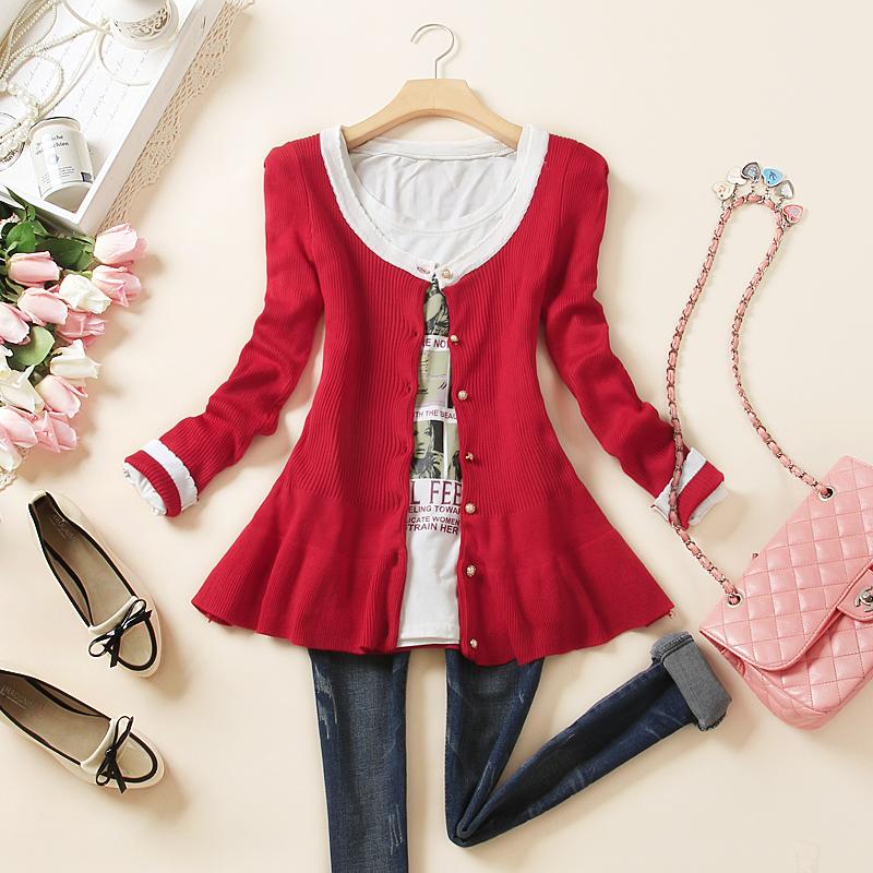 2015 году подпружиненный новой корейской версии t falbala тонкий длинный рукав свитера женщин весной и осенью Джемпер Куртка женщин