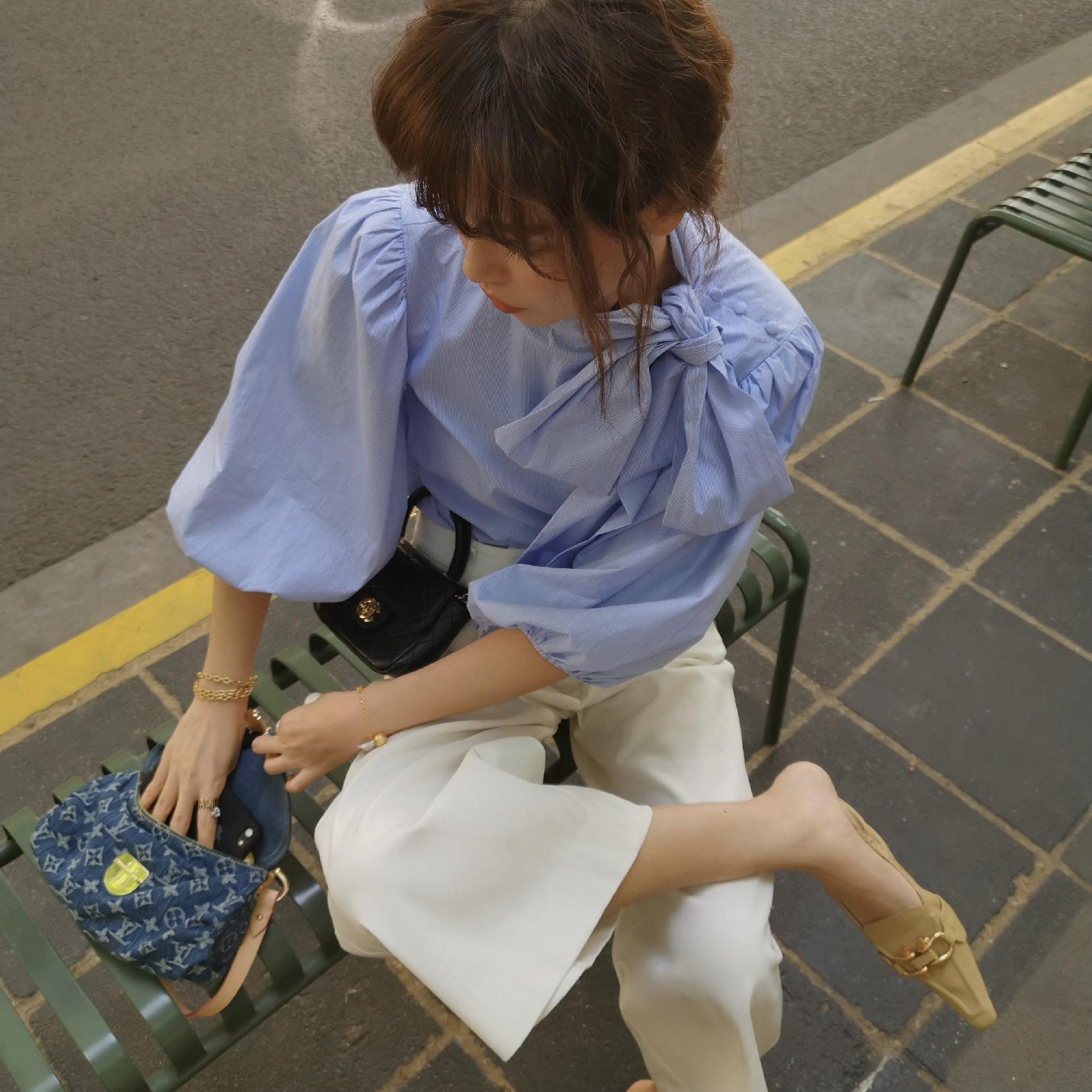 【清仓打折,2件包邮】大V家 泡泡袖蓝色细条纹衬衫 蝴蝶结