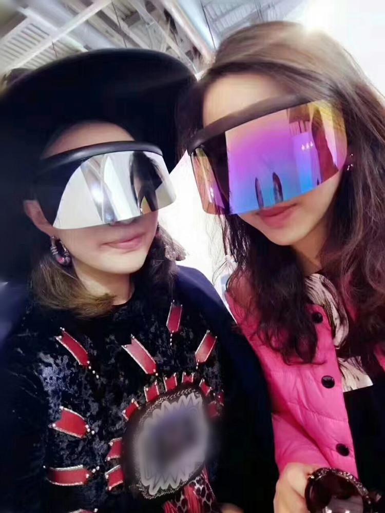 欧美超大护目太阳镜一体遮阳防风沙太阳镜电动车挡风眼镜防飞沫