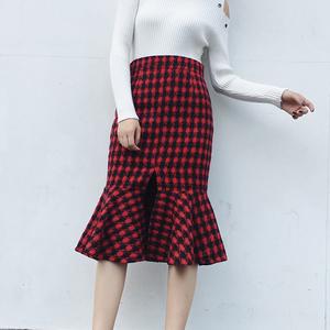 秋冬新款韩版高腰修身格子半身裙女 中长款鱼尾裙百搭包臀裙