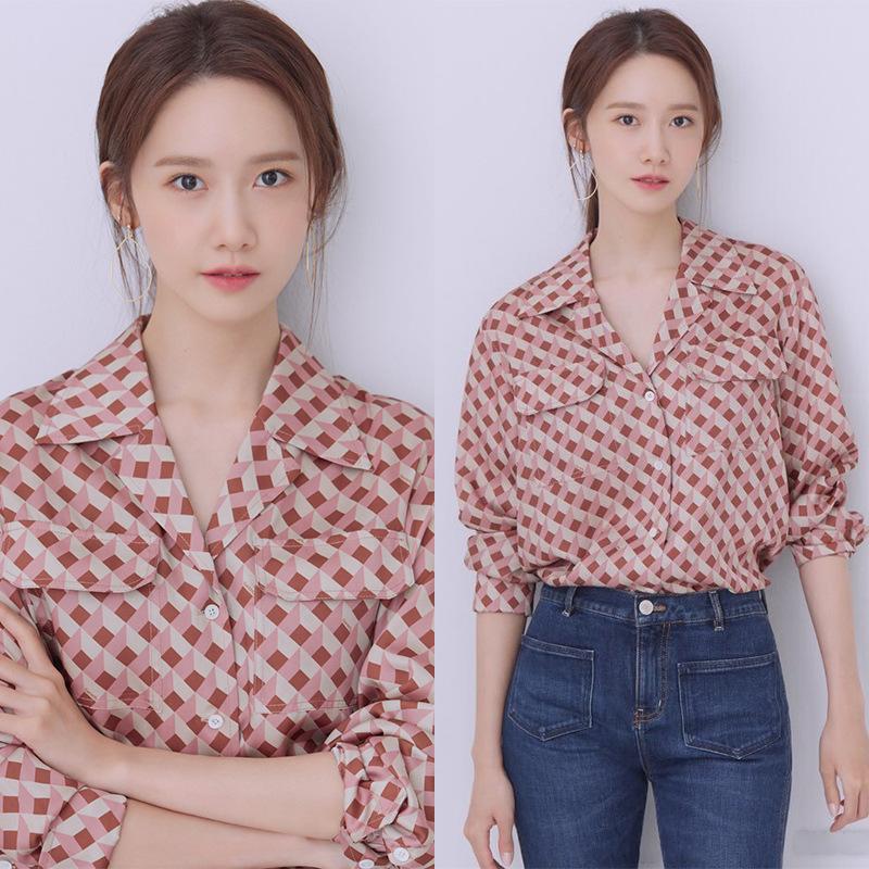 2019秋季新款韩版格子衬衫女长袖林允儿同款复古显瘦小众印花衬衣11-30新券