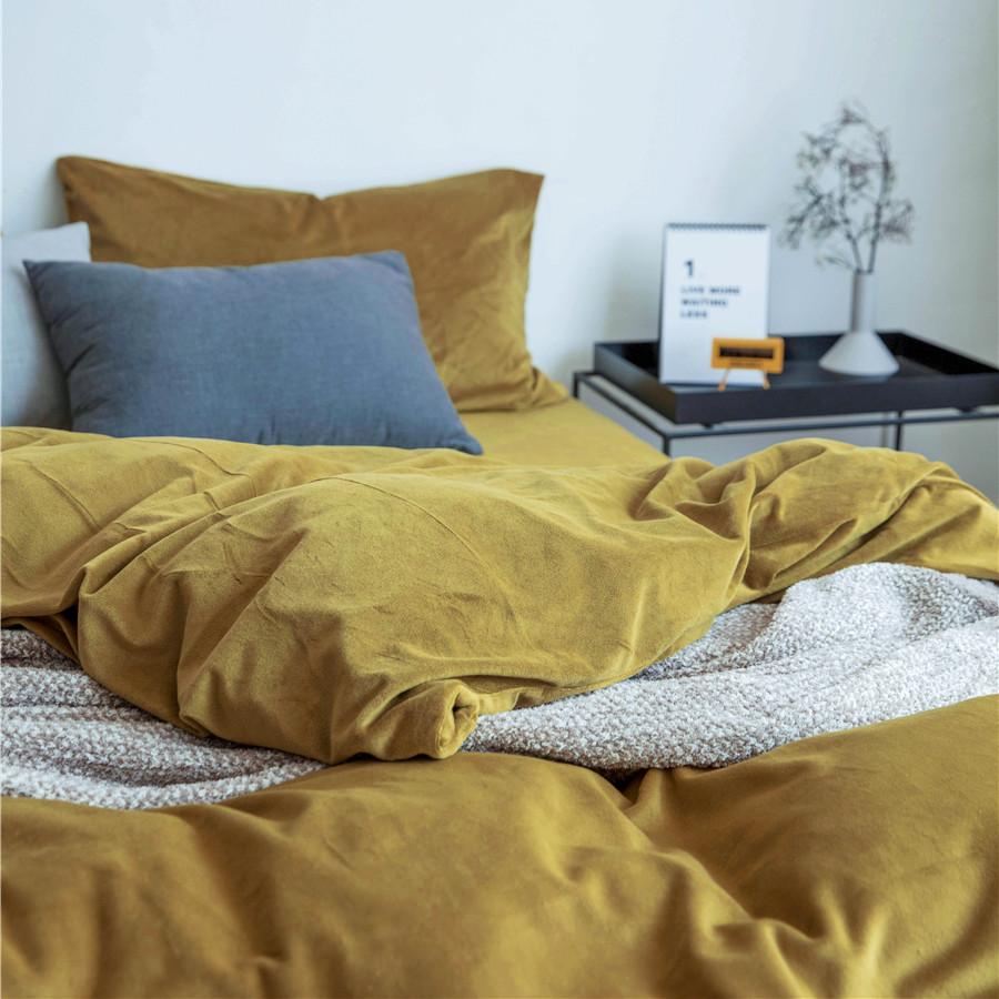 北欧极简纯色天鹅绒四件套床单床笠款床罩四件套加厚保暖被套床品