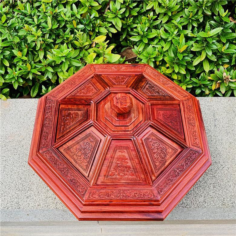 既明红木缅甸红酸枝八宝分格糖果盒素面雕花古典糕点新中式盒包邮