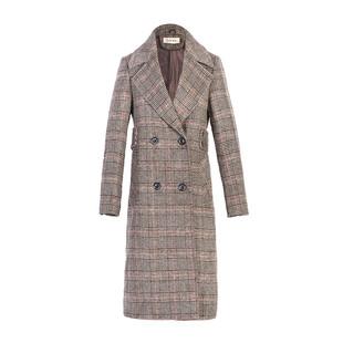 格子毛呢外套女中長款2020新款韓版千鳥格秋冬女士加厚呢子大衣女