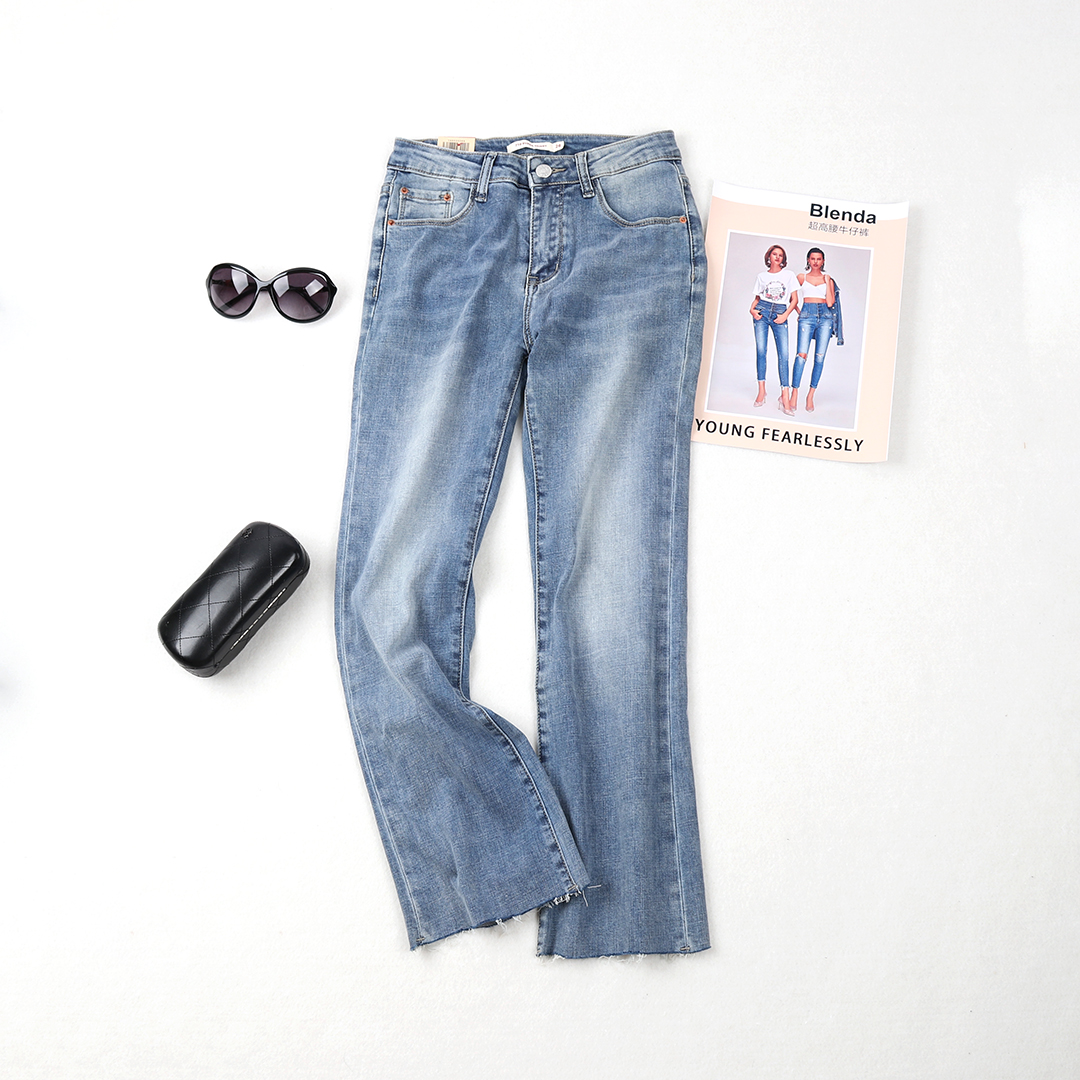 2019young fashion new light color Capris micro flared pants mid waist elastic versatile jeans for women