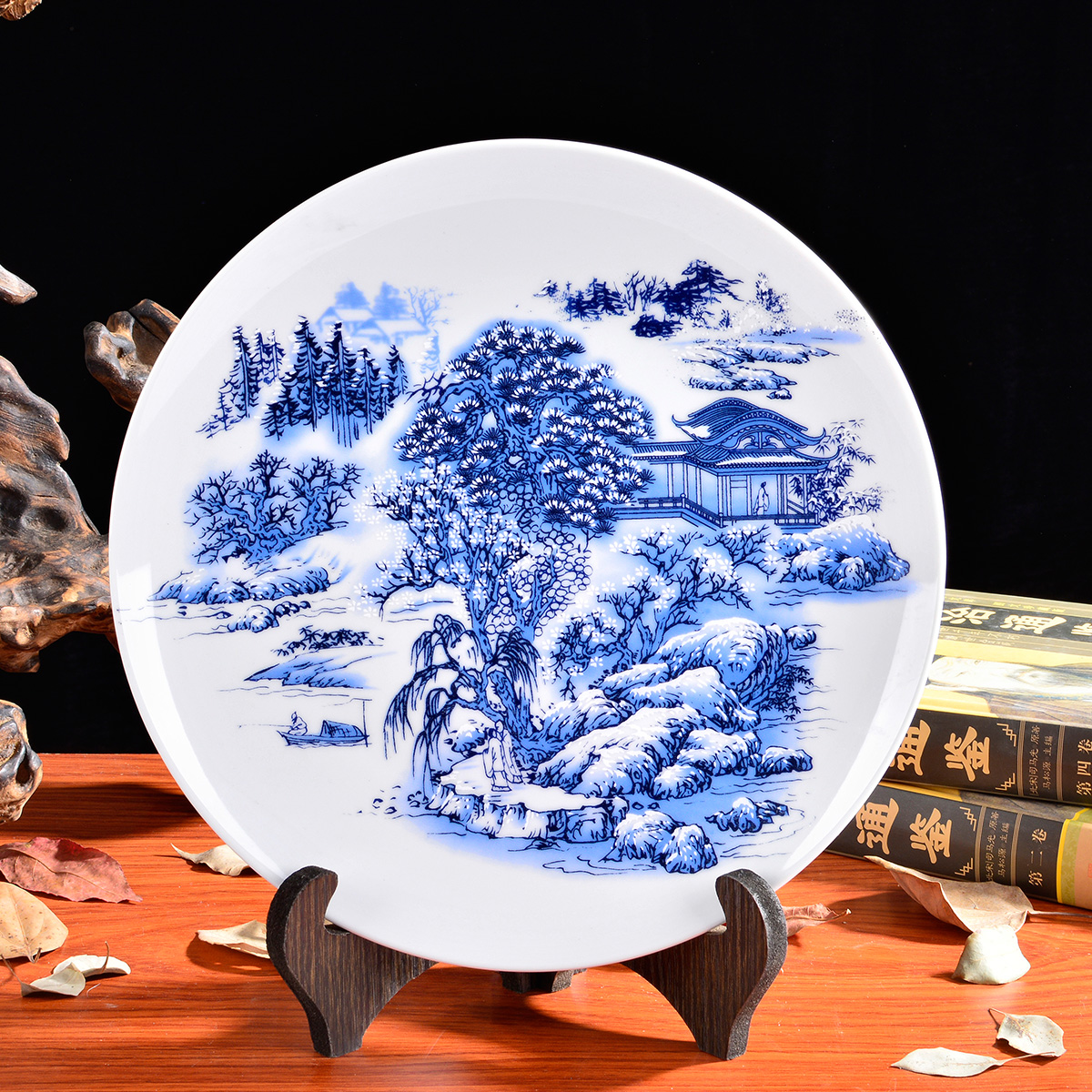 Вид мораль город фарфор устройство домой декоративный блюдо керамика блюдо синий и белый вешать блюдо домой аксессуары современный континентальный китайский стиль украшение